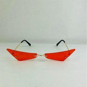 rimless cat eye shaped sunglasses